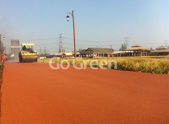 مشروع الإسفلت الملون البرتقالي الساخن في مقاطعة تشجيانغ