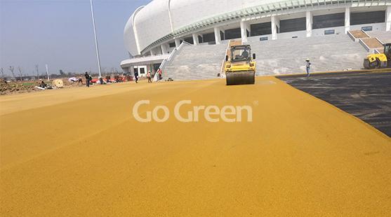 الأسفلت الأصفر والأخضر اللون في قاعة معرض جيانغسو